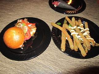 Pulled pork and green beans from Trader Sam's   by The Tiki Chick