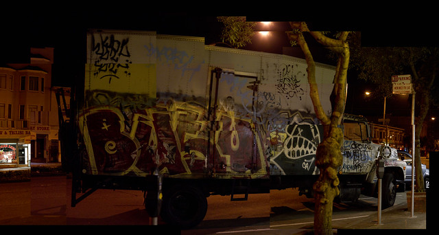 graffiti truck on Geary at night; The Richmond, San Francisco (2010)