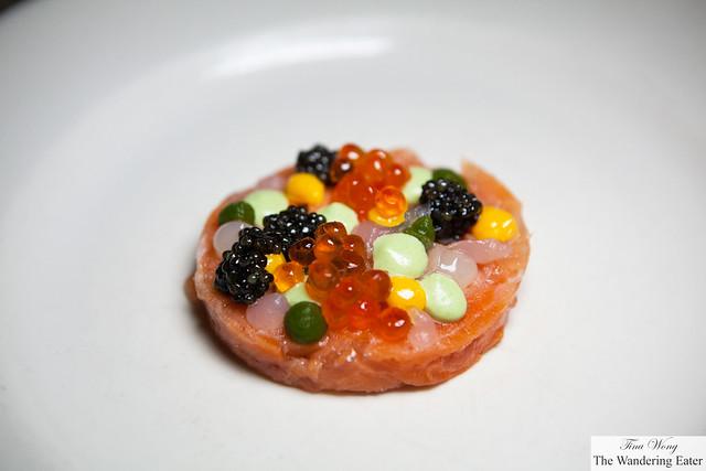 """Back to the Future"" — Salmon tartare in Bellavista with Calvisius Osetra Royal Caviar by Massimo Bottura"