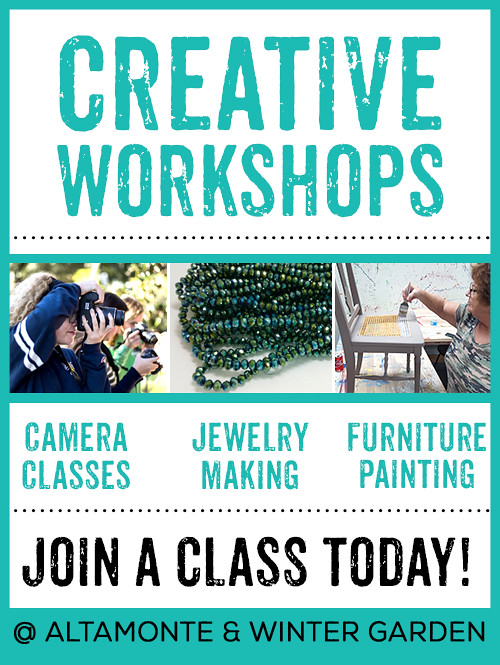 Our experts teach furniture painting, photography and jewelry making!