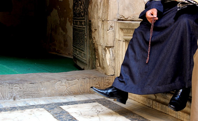 Pharaonic door step for an old Cairo mosque