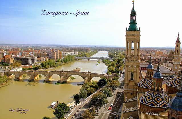 VIEW of EBRO RIVER from the ZARAGOZA CATHEDRAL TOWER in SPAIN, EUROPA