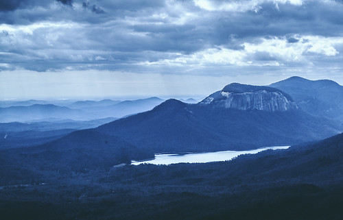 mountain nature lake blue rays clouds