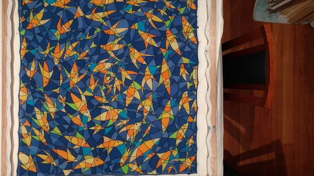 painting of a crazy fish swirl on silk in less than 15 seconds