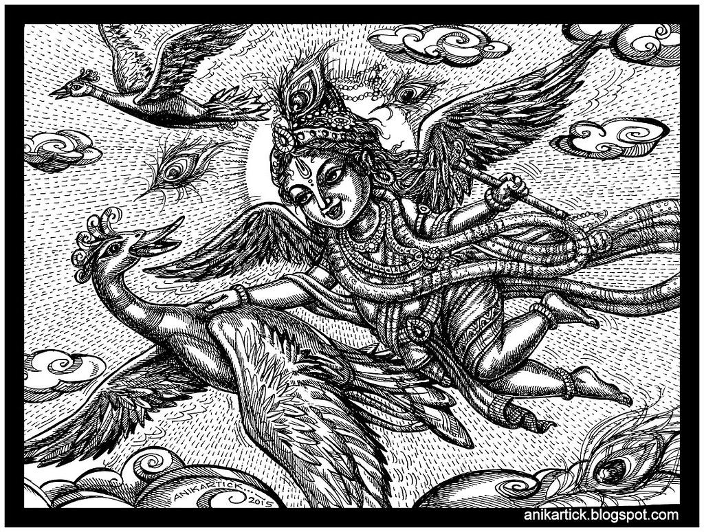 Little Krishna Play with the birds - Anikartick Art - 1001