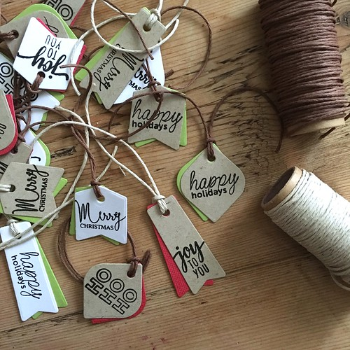 Mama Elephant mini messages on Christmas gift tags | by Kimberly Toney