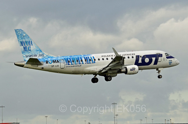 LOT Polish Airlines Embraer ERJ-175-200STD SP-LIA Roma Mamma Mia Warsaw 2015