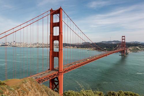 Golden Gate Bridge, San Francisco skyline, Sutro Tower   by koalie