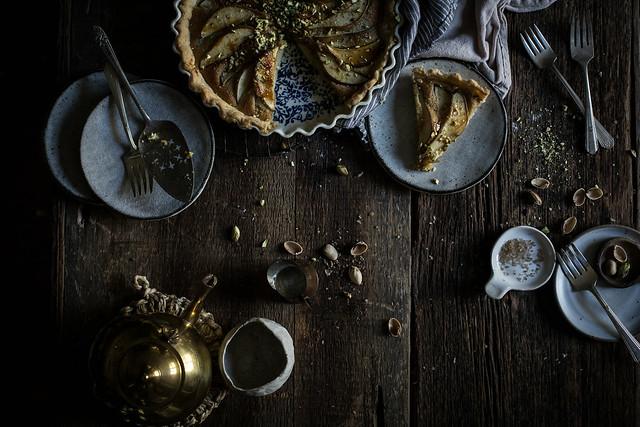 pear, pistachio, frangipane tart from the