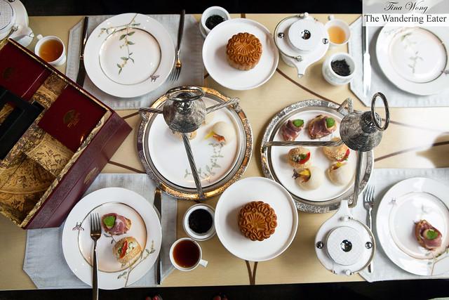 Our savory tea sandwiches with Mandarin Oriental's mooncakes