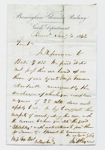 Birmingham & Gloucester Railway letterhead 1842   by ian.dinmore