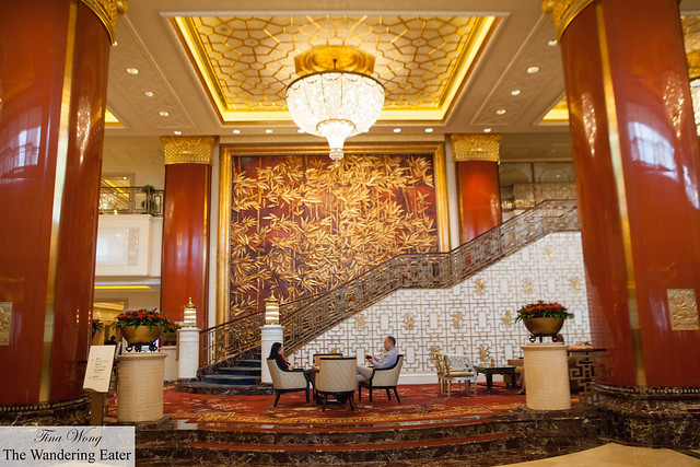 Very ornate red and gold lobby