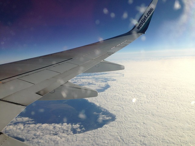 Westjet Over Great Lakes, Ontario, Canada
