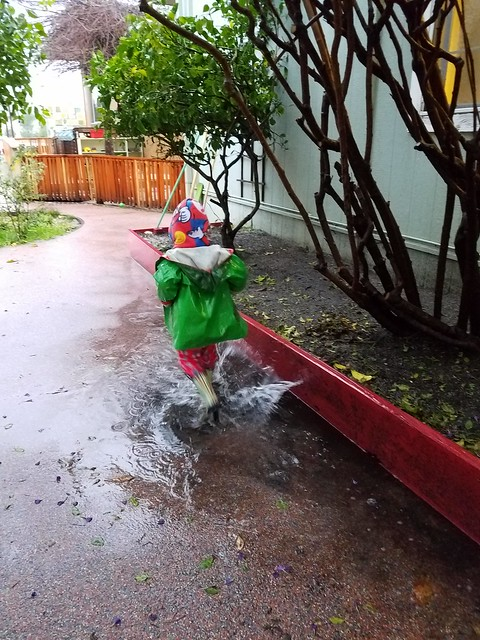 Running through the puddle