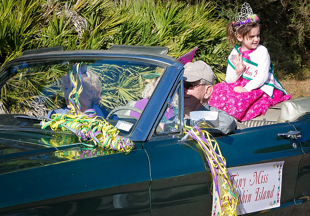 Tiny Miss Dauphin Island participates in the People's Parade during Mardi Gras in Dauphin Island, Alabama