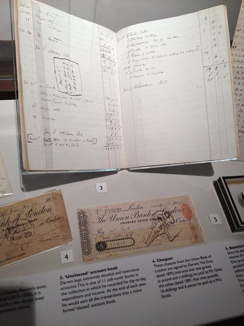Accounts and cheques drawn and signed by Darwin - at Down House and gardens, home of Charles Darwin