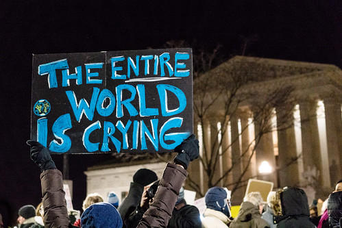 The Entire World Is Crying, Supreme Court news conference to call for the reversal of President Trump's travel ban on refugees and immigrants from several Middle East countries | by Lorie Shaull
