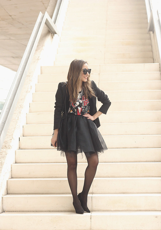 Tulle black skirt blazer maje heels coach bag necklace uterqüe madrid fashion week street style fashion outfit02