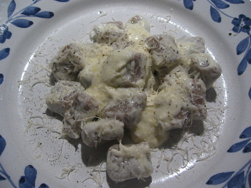 Chestnut gnocchi with parmesan cream sauce