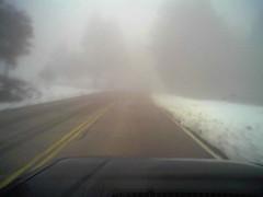 Snow on road to palomar mountain.