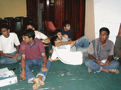 You'll be forgiven if you thought these were guys lazing around. These are the quiz contestants during the program. It's a typical IIT Madras style