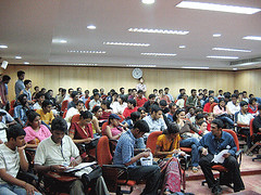 The crowd at the MBA room where debate was conducted