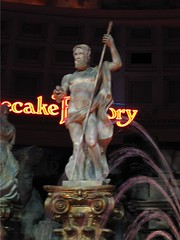 Zeus waits for Cheesecake Factory table