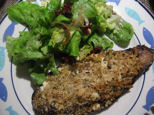 Stuffed eggplant & green salad