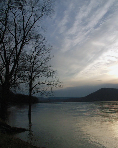 landscape sunset river water clouds sky tree silhouette millersburg pennsylvania susquehanna topv111