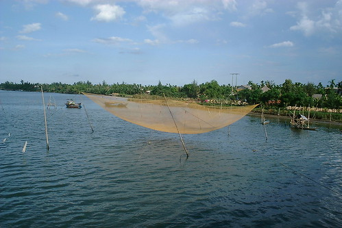 Fishing nets on the river