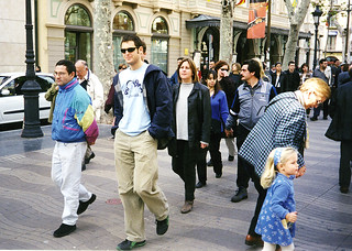 John and Candy on the Ramblas, Barcelona