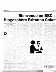 Bienvenue en BBC: Blogosphère Britanno-Colombienne
