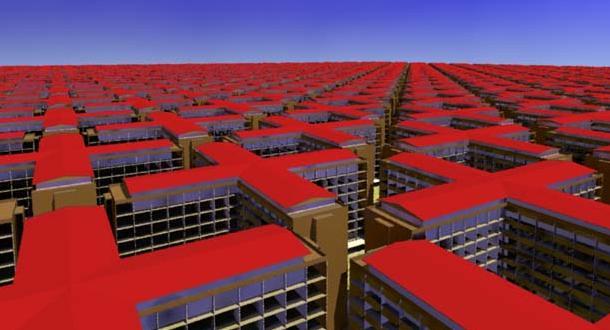 Edifícios em vermelho