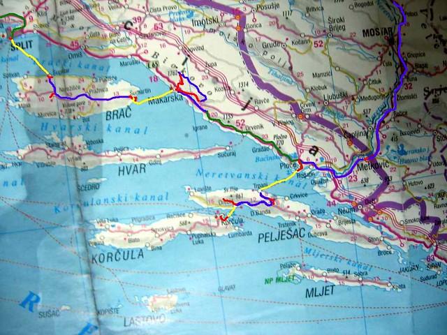 Dalmacija Mapa Dela Puta Legenda Plavo Autostop Zut Flickr