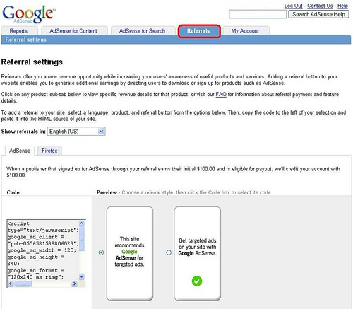 Google adsense referrals tab