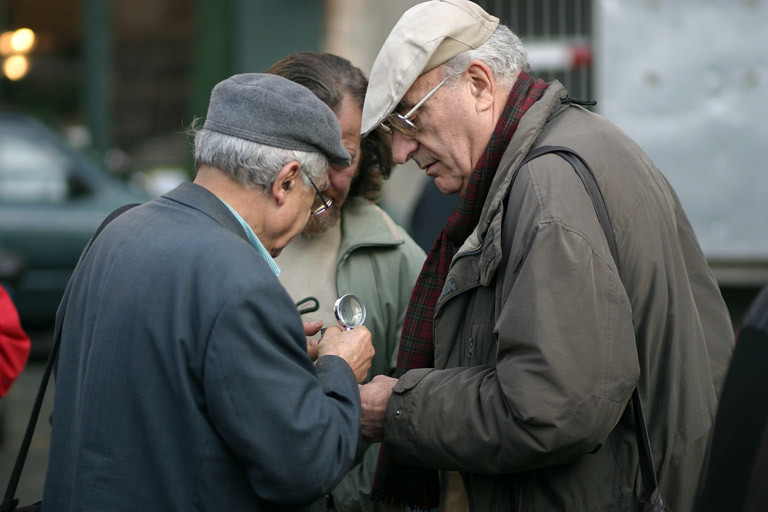 Collectors trading on the street