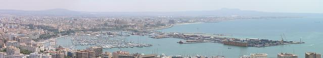 Palma de Mallorca panorama to the port from the Bellvere