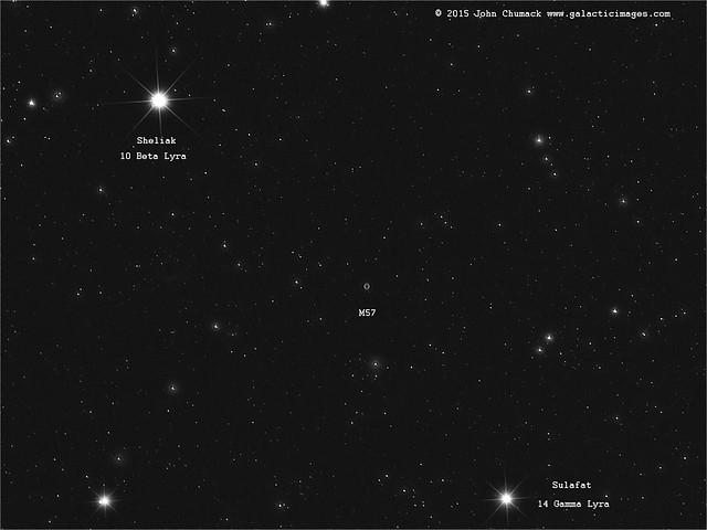 M57 The ring Nebula with Sheliak(beta Lyra)