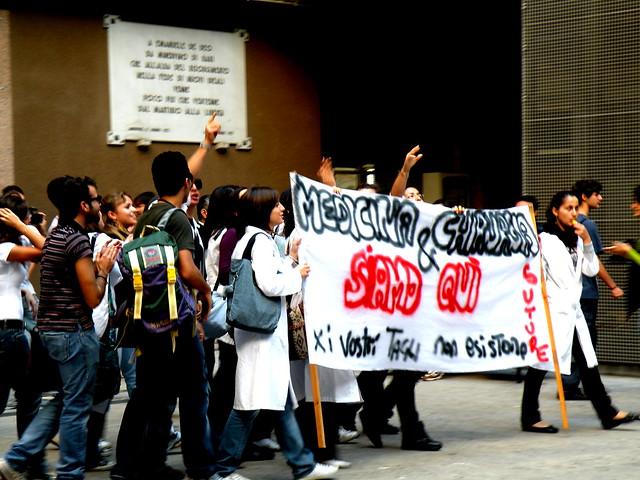 Studenti di medicina@Manifestazione contro la legge 133