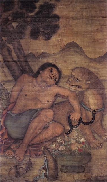 「洋風獅犬人物像」(17世紀・清朝)