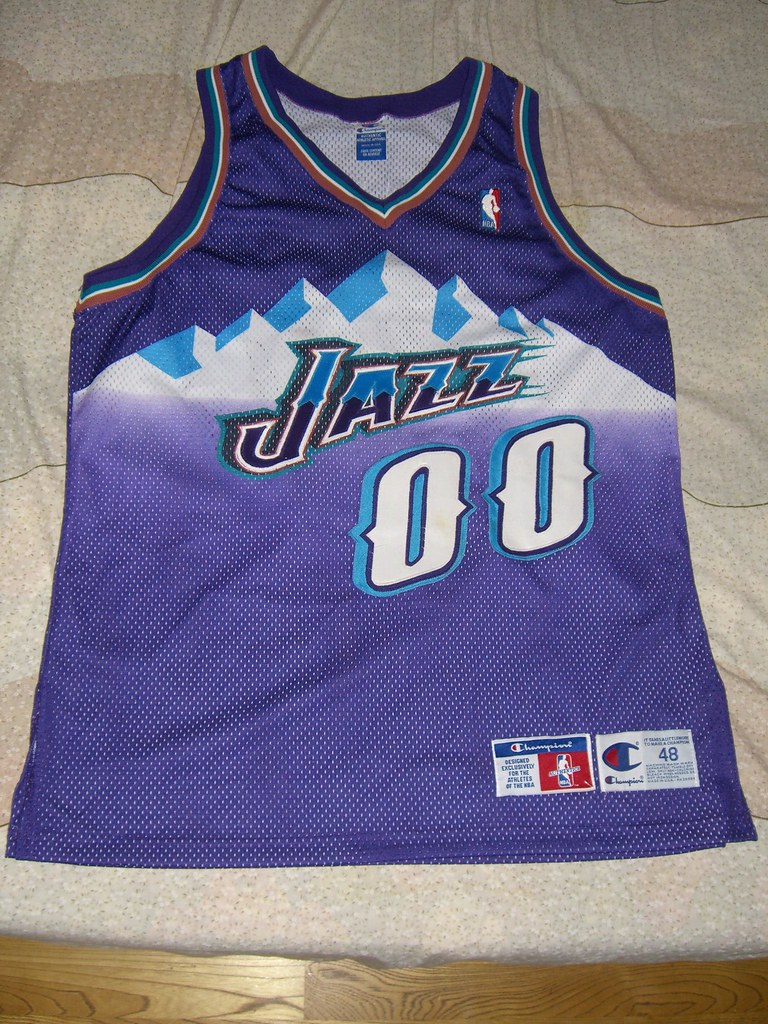 watch 41f1a 6e308 Utah Jazz Greg Ostertag Champion Authentic Jersey sz 48   Flickr