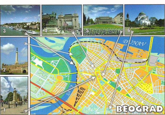 Serbia Belgrade Map Postcard