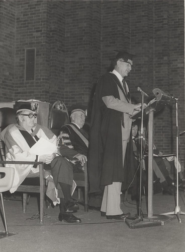 Emeritus Professor Brin Newton-John delivers Occasional Address on Graduation Day, 15 March 1974 in the Great Hall at the University of Newcastle, Australia | by Auchmuty Library, UON