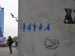 Silly Walks stencil graffiti in Warsaw