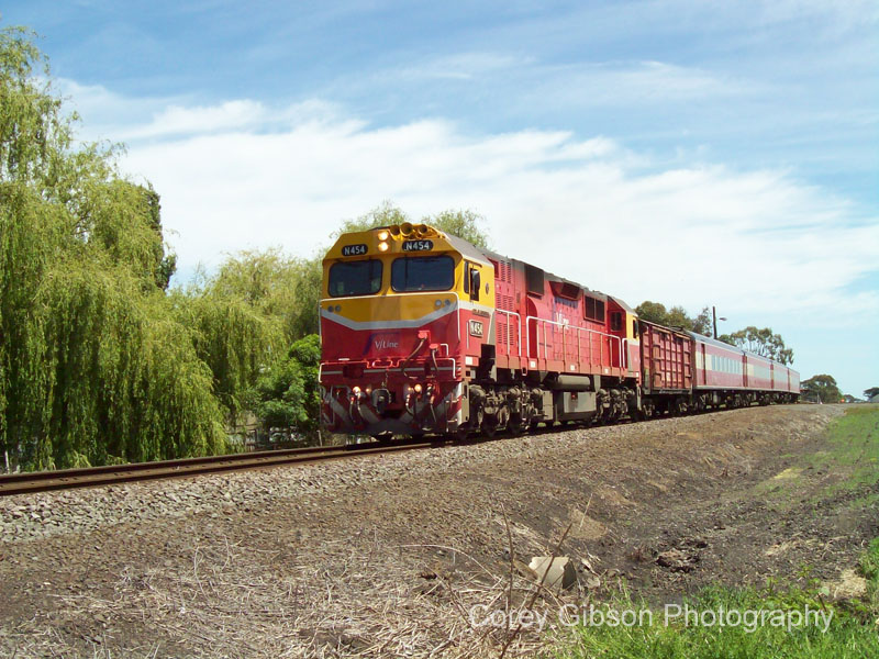 N454 with the Warrnambool to Melbourne service departing Camperdown by Corey Gibson