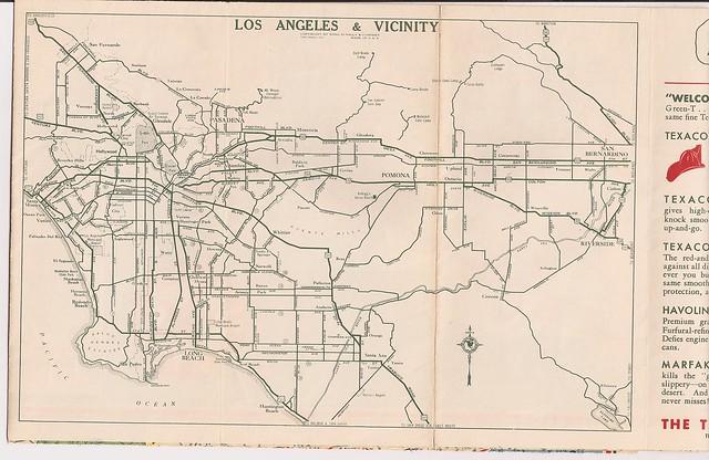 1935 L.A. Area Map (Texaco Gas)