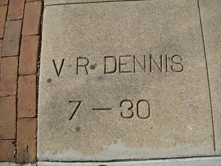 Sidewalk Date Marker V.R. Dennis - July 1930