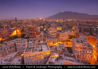 Yemen - Sanaa - Historical Old Town at Blue hour - Dusk - Blue Hour - Night | by © Lucie Debelkova / www.luciedebelkova.com