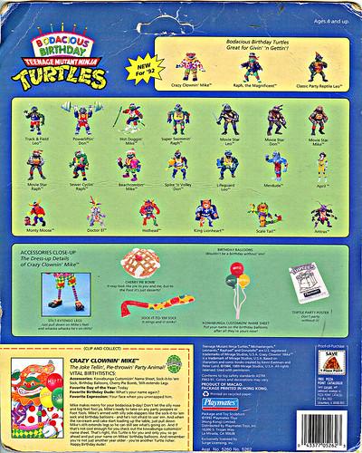 """Bodacious Birthday"" TEENAGE MUTANT NINJA TURTLES ::  TEENAGE MUTANT NINJA TURTLES ::  CRAZY CLOWIN' MIKE .. backer ii (( 1992 )) by tOkKa"