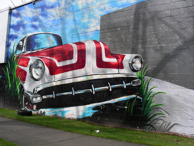 Classic car Mural in East Van